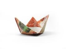 五千卢布Origami船  免版税图库摄影