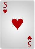 五卡片心脏啤牌 库存照片