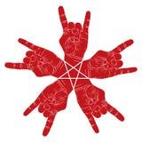 五只与五点星的岩石手抽象符号,黑色和 免版税图库摄影