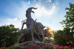 五只公羊雕象,广州 库存照片
