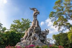 五只公羊雕象,广州 免版税库存照片
