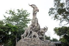 五只山羊雕象 库存图片