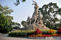 五只绵羊雕塑 免版税图库摄影
