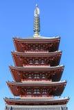五层的塔, Sensoji寺庙浅草,东京,日本 图库摄影