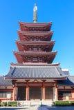 五层的塔, Sensoji寺庙浅草,东京,日本 库存照片
