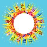 五彩纸屑和蜒蜒太阳 免版税库存照片