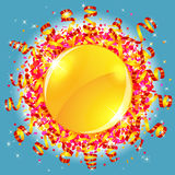 五彩纸屑和蜒蜒太阳 免版税库存图片