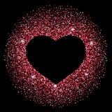 五彩纸屑心脏框架由红色五彩纸屑制成 库存图片