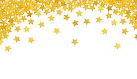 以五彩纸屑的形式金黄星在白色 免版税库存图片