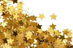 五彩纸屑金黄星形 库存照片
