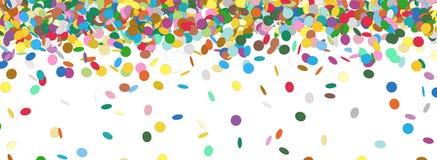 五彩纸屑雨-五颜六色的全景背景模板 免版税库存照片