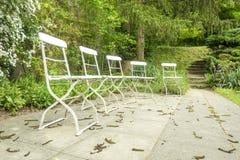 五把椅子外面在绿色庭院里 库存图片