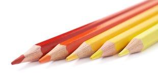 五支颜色铅笔线  免版税库存图片