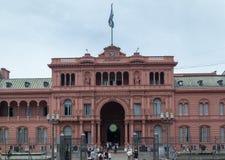 五月广场住处Rosada门面阿根廷 图库摄影