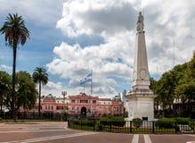 五月广场和住处Rosada -布宜诺斯艾利斯,阿根廷 库存图片