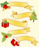 五条圣诞节丝带 免版税图库摄影