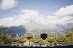 五杯科涅克白兰地和两杯反对一美丽的山风景和缆绳c的背景的红色和玫瑰酒红色立场 库存图片