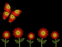 五橙色和黄色花和蝴蝶PowerPoint背景 免版税库存图片