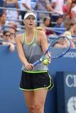 五次全垒打冠军玛丽亚・莎拉波娃为美国公开赛实践2015年在国家网球中心 库存图片