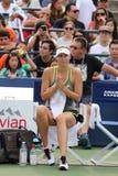 五次全垒打冠军玛丽亚・莎拉波娃为美国公开赛实践2015年在国家网球中心 免版税图库摄影