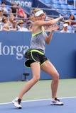 五次全垒打冠军玛丽亚・莎拉波娃为美国公开赛实践2015年在国家网球中心 库存照片