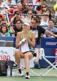 五次全垒打冠军玛丽亚・莎拉波娃为美国公开赛实践2015年 图库摄影