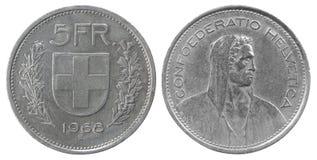 五法郎硬币 免版税库存照片