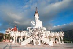五白色在Wat Phra Thart Pha Kaew,泰国的菩萨雕象 图库摄影