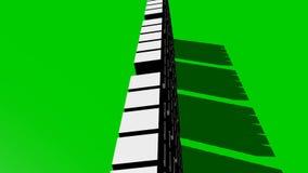 五白色立方体段移动在绿色屏幕上,迅速移动,转动,抽象介绍或outro录影 影视素材