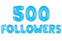 五百个追随者,蓝色颜色 免版税库存照片