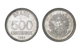 五百克鲁赛罗铸造,年1986年-从巴西的老硬币 免版税库存图片