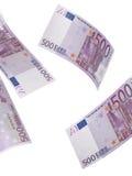 五百欧元在白色隔绝的票据拼贴画 免版税库存照片