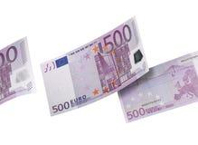 五百欧元在白色隔绝的票据拼贴画 免版税库存图片