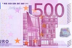 五百欧元笔记的部分的特写镜头照片 库存图片