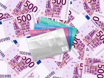 五百欧元背景和信用卡 库存图片