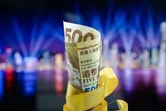 五百美元香港,香港金钱,香港庆祝轻的展示 库存照片