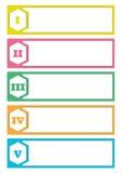 五种颜色横幅模板例证 库存图片