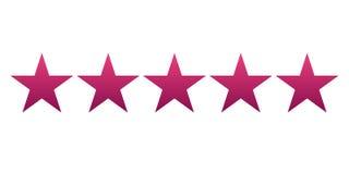五红色梯度星 也corel凹道例证向量 轻的背景 免版税库存照片
