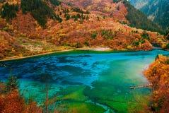 五色的湖 库存照片