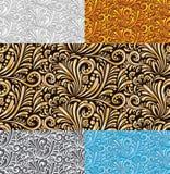 五花卉无缝的样式传染媒介背景 向量例证