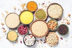 五谷、豆类和豆分类顶视图 免版税图库摄影