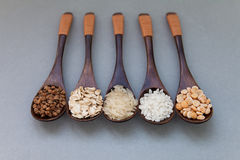 五谷的几种类型在木匙子的 荞麦,米,燕麦,豌豆 灰色背景 库存图片