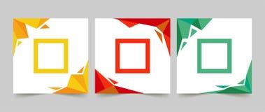 五颜六色三简单的干净的横幅 库存例证
