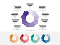 五颜六色九支持难题介绍infographic图图传染媒介 免版税库存图片