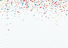 五颜六色五彩纸屑落 样式的上面用五彩纸屑装饰 在透明背景隔绝的传染媒介例证 向量例证