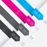 五颜六色传染媒介模板。与地方的四个干净的箭头您的 库存图片