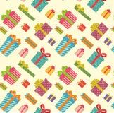 五颜六色和各种各样的礼物盒样式 库存例证