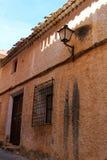 五颜六色和庄严老房子门面在卡拉瓦卡德拉克鲁斯,穆尔西亚,西班牙 图库摄影