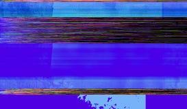 五颜六色和蓝色小故障艺术背景 库存图片