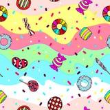 五颜六色和逗人喜爱的手拉的甜糖果葡萄酒样式无缝的样式传染媒介 免版税库存照片